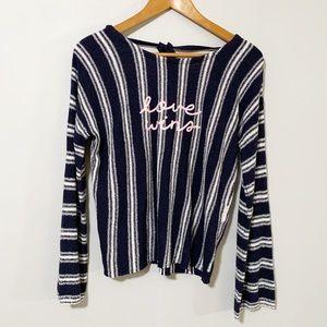 Express Stripe Love Wins Sweater
